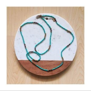 Aldo Turquoise & Gold Beaded Necklace